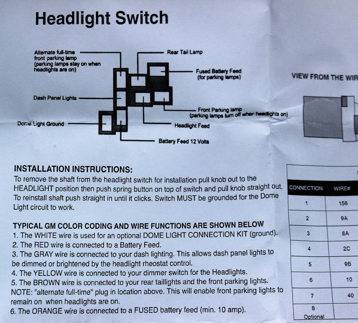 Hot Rod Headlight Switch Wiring Diagram With Interior Dimmer Function