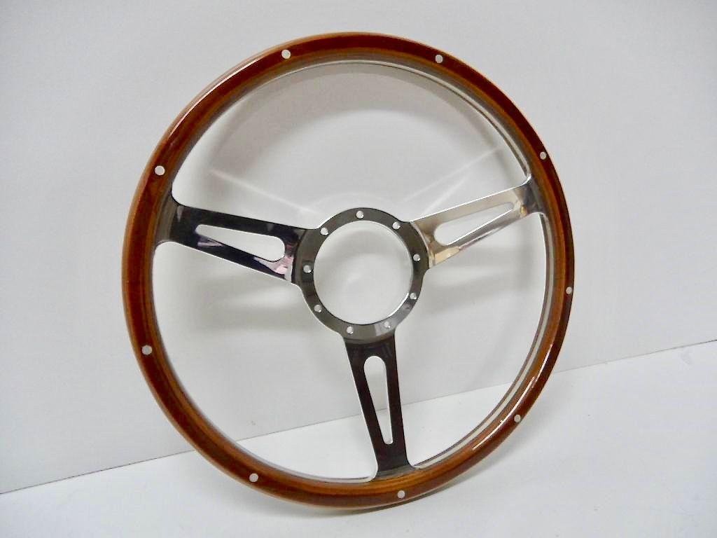 15 INCH 3 SPOKE BILLET WOOD GRAIN STEERING WHEEL 9 BOLT
