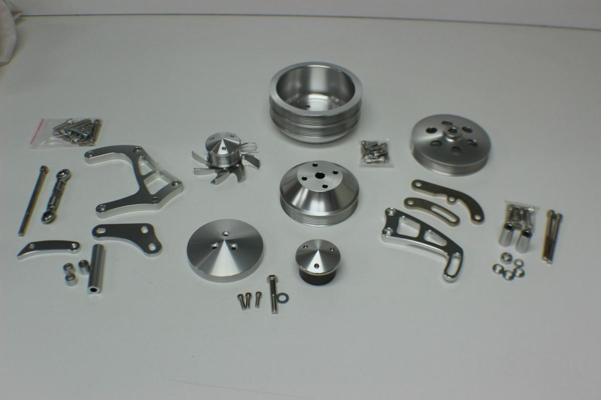 SMALL BLOCK CHEV SERPENTINE BILLET PULLEY AND BRACKET KIT