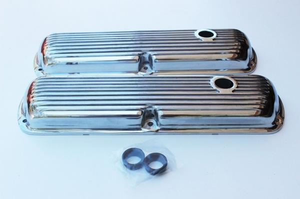 FORD WINDSOR 289 302 351 POLISHED FINNED LOW PROFILE ROCKER COVER
