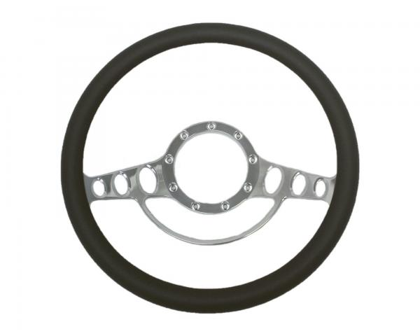 14 INCH BILLET STEERING WHEEL WITH HORN RIM LEATHER HALF WRAP - 4 COLOURS