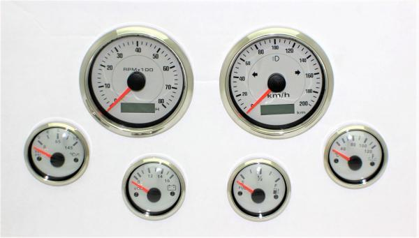 6 GAUGE SET ELECTRONIC + GPS SPEEDO SENDER WHITE HOT ROD, FORD, CHEV