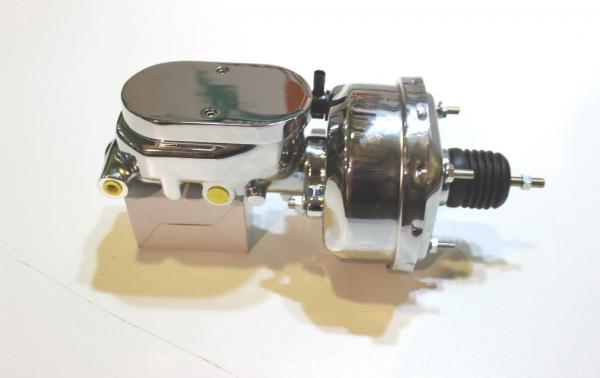 """7"""" CHROME SINGLE BOOSTER AND MASTER CYLINDER FLAT TOP"""