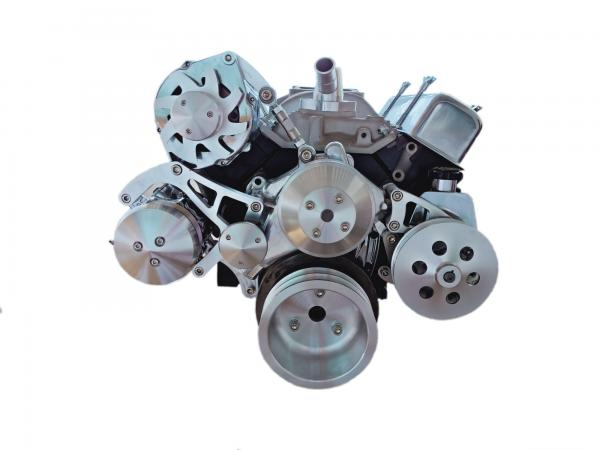 SMALL BLOCK CHEV SERPENTINE BILLET PULLEY AND BRACKET KIT SUIT LONG PUMP - ALTERNATOR, P/STEERING , AIR CON
