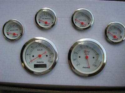 DOLPHIN 6 GAUGE SET SPEEDO KM/HR, TACHO & INSTRUMENT GAUGE SET ELECTRONIC PROGRAMMABLE