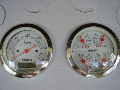 "DOLPHIN 3 3/8"" SPEEDO & QUAD GAUGE SET ELECTRONIC PROGRAMABLE"