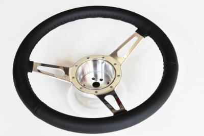 14 INCH 3 SPOKE BILLET STEERING WHEEL FULL LEATHER BLACK WRAP