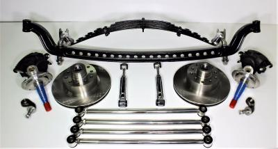 FORD HOT ROD I-BEAM FRONT END WITH POLISHED STAINLESS 4 BARS