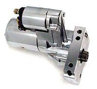 SMALL BLOCK CHEV STARTER MOTOR REDUCTION STYLE 3HP CHROME - STRAIGHT BOLT