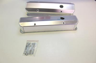 CHEV SMALL BLOCK ALLOY SHEET METAL ROCKER COVERS WITH BOLTS