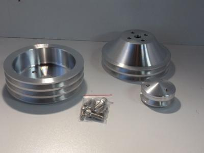 SMALL BLOCK CHEV PULLEY KITS 3V-2V  BILLET ALLOY SHORT PUMP SATIN FINISH
