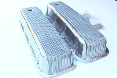 CHEV BIG BLOCK ALLOY RIBBED  ROCKER COVERS WITH BOLTS NOSTALGA STYLE
