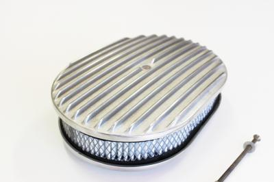 12 INCH OVAL AIR CLEANER POLISHED ALLOY FULL RIBBED + FILTER