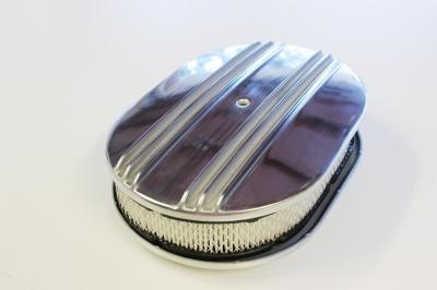 12 INCH OVAL AIR CLEANER POLISHED ALLOY 1/2 RIBBED + FILTER