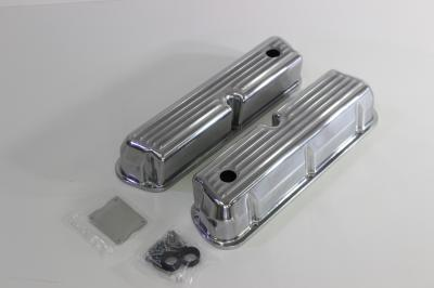 FORD WINDSOR 289 302 351 POLISHED FINNED ROCKER COVERS