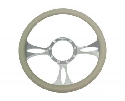 14 INCH 3 SPOKE BILLET STEERING WHEEL LEATHER/WOOD GRAIN HALF WRAP - 5 COLOURS