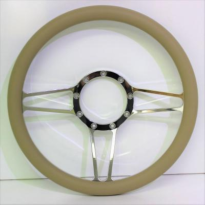 "14"" BILLET 3 SPOKE STEERING WHEEL LEATHER HALF WRAP - 4 COLOURS"