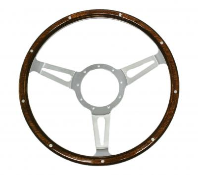 14 INCH 3 SPOKE BILLET WOOD GRAIN STEERING WHEEL 9 BOLT