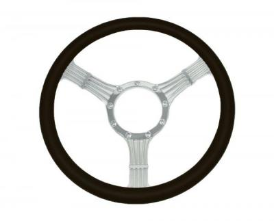 15 INCH BANJO STYLE BILLET STEERING WHEEL LEATHER HALF WRAP - 4 COLOURS