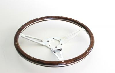 14 INCH 3 SPOKE BILLET WOOD GRAIN STEERING WHEEL 6 BOLT