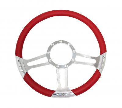 14 INCH BILLET SPECIAL STYLE BILLET STEERING WHEEL LEATHER HALF WRAP - 5 COLOURS