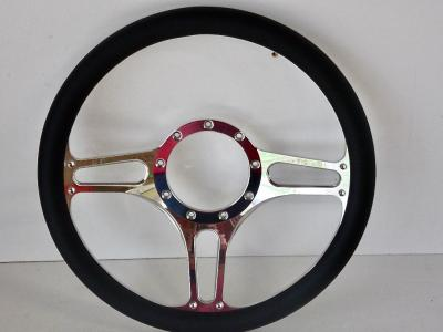 "14"" BILLET 3 SPOKE BM STEERING WHEEL LEATHER HALF WRAP - 4 COLOURS"