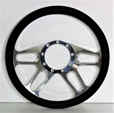 "14"" BILLET 4 SPOKE STEERING WHEEL LEATHER HALF WRAP - 4 COLOURS"