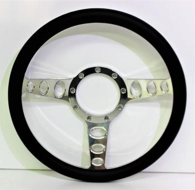14 INCH 3 SPOKE HOLES BILLET STEERING WHEEL LEATHER HALF WRAP - 4 COLOURS
