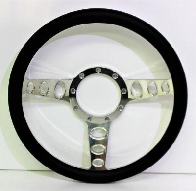15 INCH 3 SPOKE w/ HOLES BILLET STEERING WHEEL LEATHER HALF WRAP - 4 COLOURS