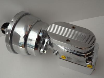 "7"" CHROME DUAL BOOSTER AND MASTER CYLINDER BALL MILLED TOP"