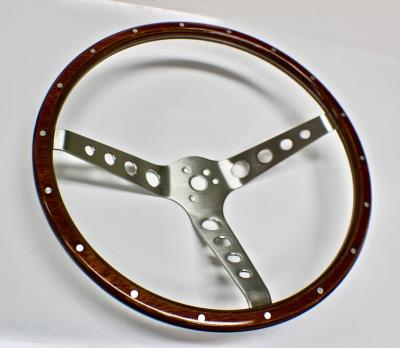 FORD MUSCLE CAR WOOD GRAIN STEERING WHEEL 15""