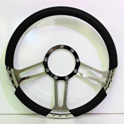 "14"" BILLET 3 SPOKE BM STEERING WHEEL LEATHER HALF WRAP"