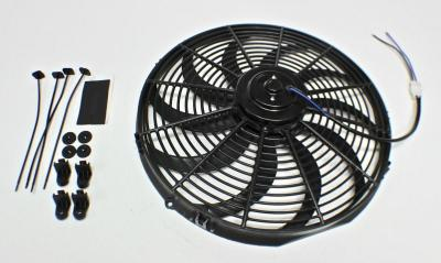 14 INCH THERMO FAN CURVED BLADE 12V 120w 1900 CFM OUTPUT PUSH/PULL REVERSIBLE