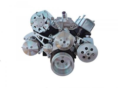 SBC SERPENTINE BILLET PULLEY SYSTEM KIT SUIT LONG PUMP WITH ALTERNATOR, P/STEERING , AIR CON , WATER PUMP