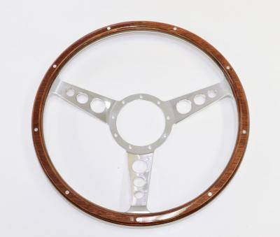 15 INCH 3 SPOKE w/ HOLES BILLET WOOD GRAIN STEERING WHEEL 9 BOLT