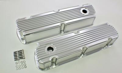FORD WINDSOR FINNED FABRICATED ALUMINIUM VALVE ROCKER COVERS SATIN - 289,302,351