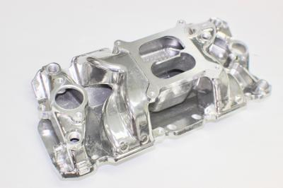 SMALL BLOCK CHEV POLISHED DUAL PLANE AIR GAP INTAKE MANIFOLD